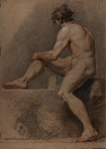 Estudio de modelo masculino sentado de perfil con la cabeza girada hacia atrás
