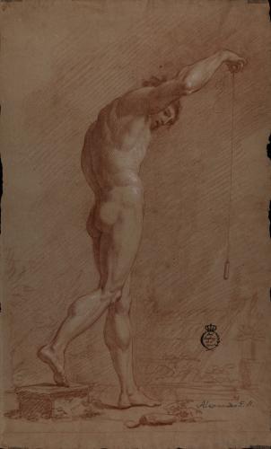 Estudio de modelo masculino desnudo de pie con plomada