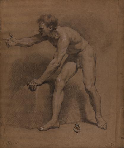 Estudio de modelo masculino desnudo de perfil hacia la derecha semi inclinado con el brazo derecho extendido