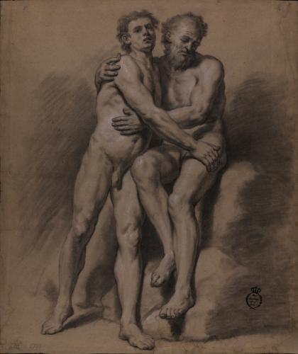 Estudio de dos modelos masculinos desnudos uno de pie, joven y otro sentado, anciano