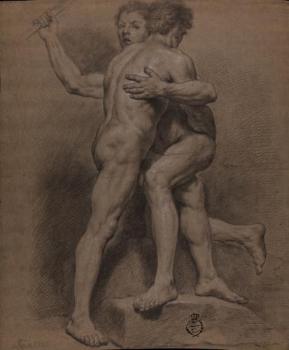 Estudio de dos modelos masculinos desnudos abrazados
