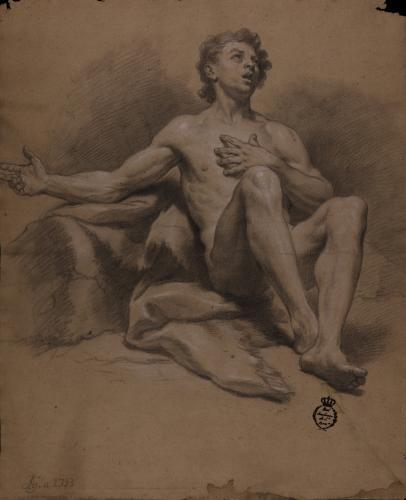 Estudio de modelo masculino sentado con la mano izquierda sobre el pecho y el brazo derecho extendido