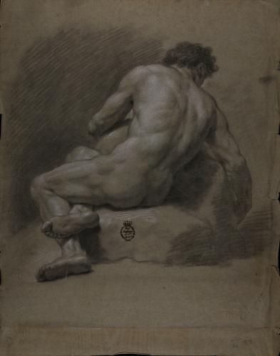 Estudio de modelo masculino desnudo sentado sobre unas rocas de espaldas