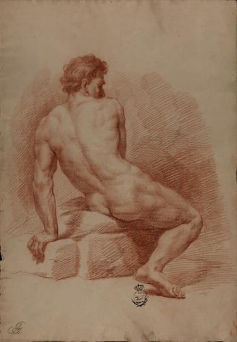 Estudio de modelo masculino de perfil sentado de espaldas apoyado en su brazo izquierdo