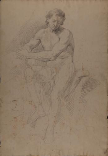 Estudio de modelo masculino desnudo sentado con las manos entrelzadas