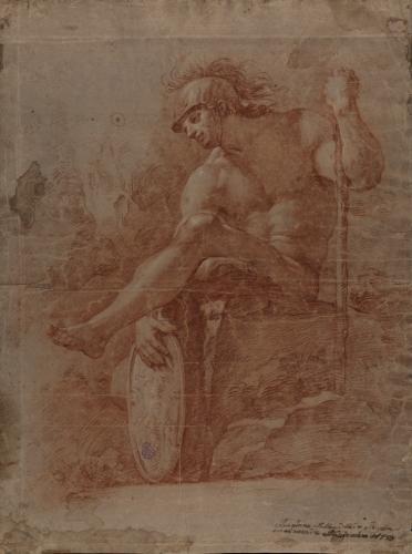 Estudio de modelo masculino desnudo sentado con casco y escudo