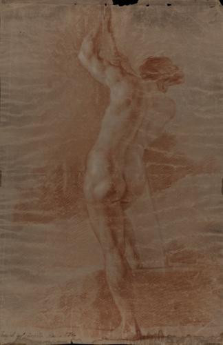 Estudio de modelo masculino desnudo de espaldas con vara