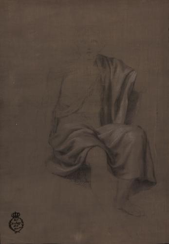 Estudio de ropaje de una figura sentada de frente