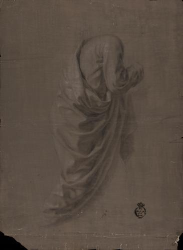 Estudio de ropaje de la figura de Santo Tomás
