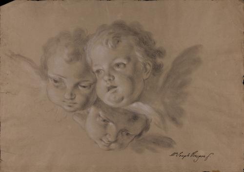 Estudio de tres cabezas de querubines