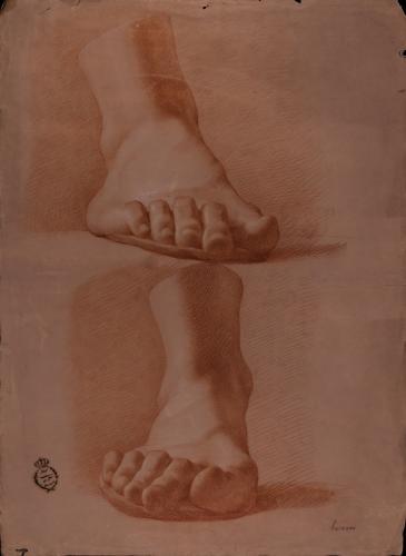 Estudio de modelo en yeso de pie derecho desde dos perspectivas