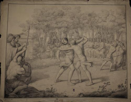 Estudio del combate de Telémaco con un joven de Rodas