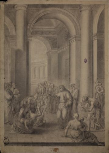 Estudio de Jesús cura a ciegos y tullidos en el templo