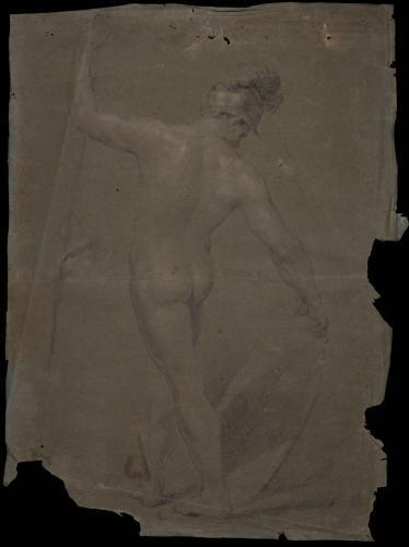 Estudio de modelo masculino desnudo de espaldas con casco, lanza y escudo