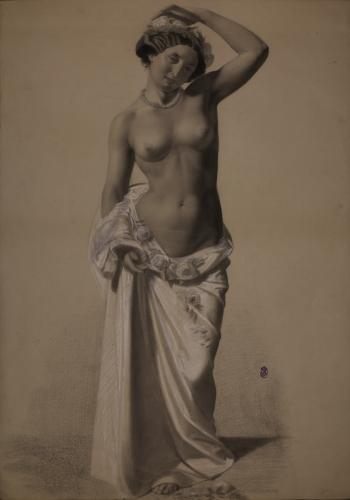 Estudio de modelo femenina parcialmente desnuda con paño y flores