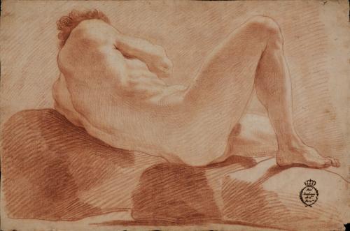 Estudio de modelo masculino desnudo recostado de espaldas