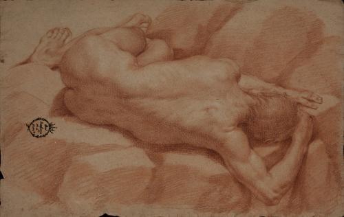 Estudio de modelo masculino desnudo de espaldas hacia la izquierda