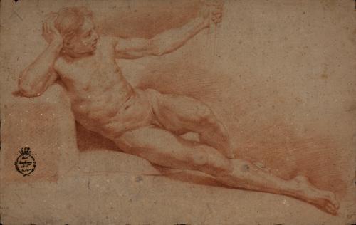 Estudio de modelo masculino desnudo recostado de derecha a izquierda con vara