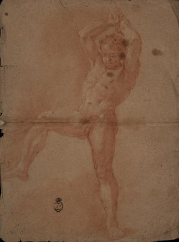 Estudio de modelo masculino desnudo de pie de tres cuartos con la pierna derech levantada y los brazos alzado en actitud de golpear