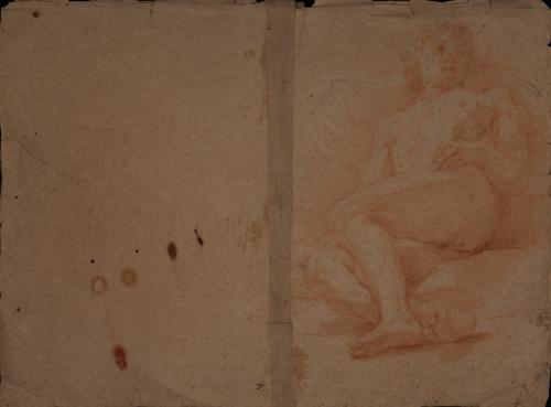 Estudio de modelo masculino desnudo sentado con las piernas hacia la derecha