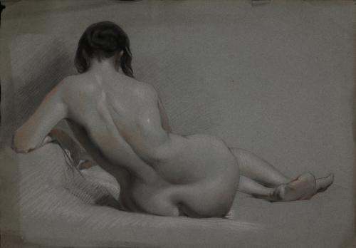 Estudio de modelo femenino desnudo recostado de espaldas
