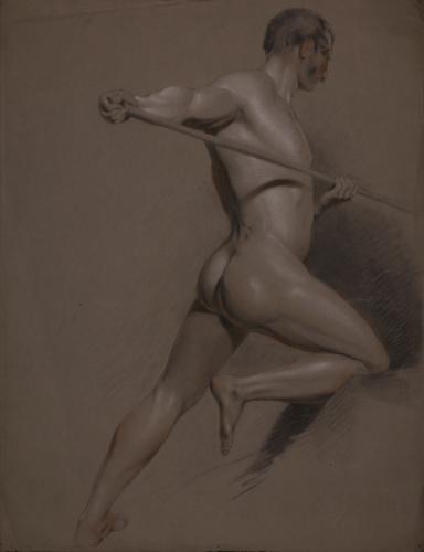 Estudio de modelo masculino desnudo con vara