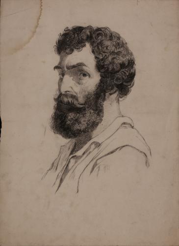 Estudio de cabeza masculina barbada de tres cuartos hacia la izquierda
