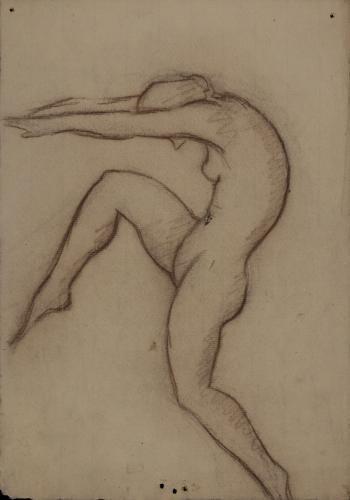 Estudio de figura femenina bailando de perfil hacia la izquierda