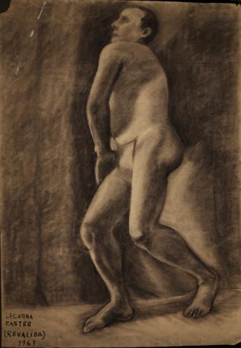 Estudio de modelo masculino desnudo semiagachado de perfil hacia la izquierda