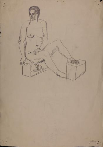 Estudio de modelo femenino desnudo sentado de tres cuartos hacia la derecha