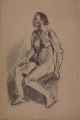 Estudio de modelo femenino desnudo sentado de tres cuartos hacia la izquierda
