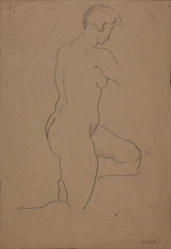 Estudio de modelo femenino desnudo de pie de perfil hacia la derecha