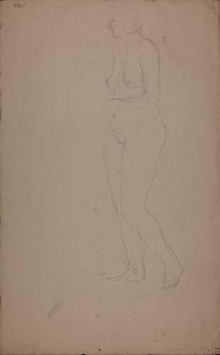 Estudio de moldeo femenino desnudo de perfil hacia la izquierda