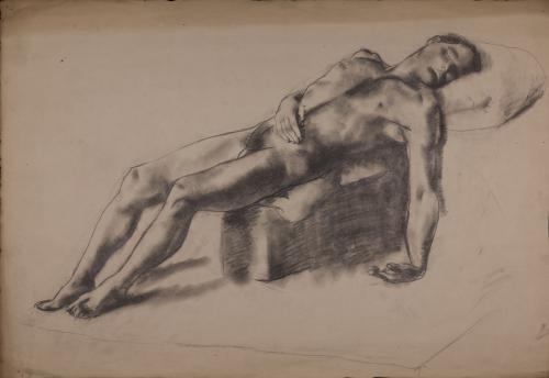 Estudio de modelo masculino desnudo tumbado de derecha a izquierda