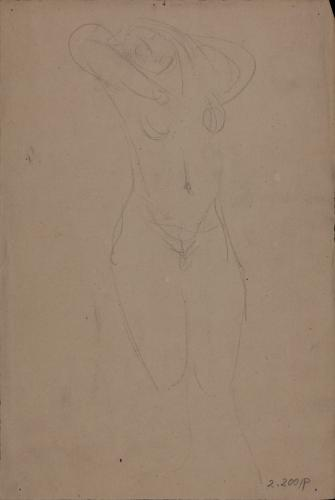 Estudio de modelo femenino desnudo de frente