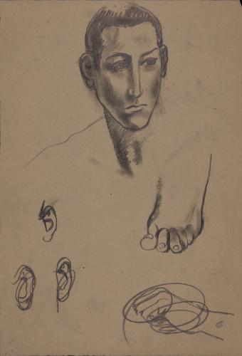 Estudio de cabeza masculina, pie, orejas y mano