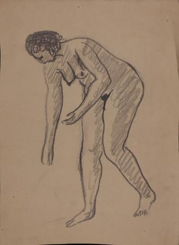 Estudio de modelo femenino desnudo de perfil inclinado hacia la izquierda