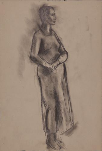 Estudio de modelo femenino desnudo de pie de tres cuatros hacia la derecha