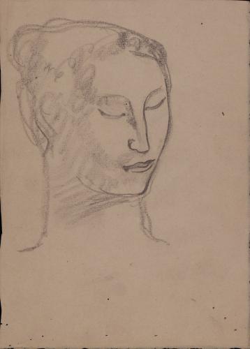 Estudio de cabeza femenina de tres cuartos hacia la derecha