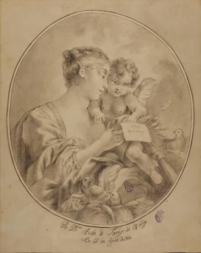 Venus, con un papel con la leyenda