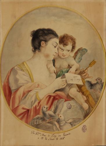 Venus, con un papel en las manos con la leyenda