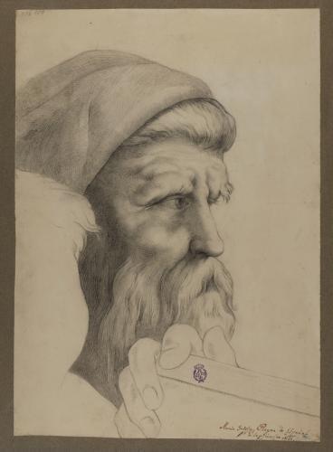 Estudio de la cabeza de Epicarmo de la Escuela de Atenas de Rafael