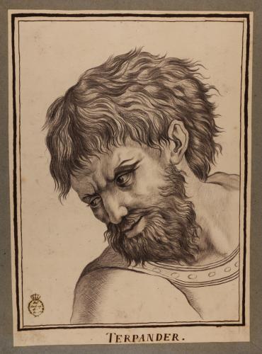 Estudio de la cabeza del llamado Terpandro, de la Escuela de Atenas de Rafael