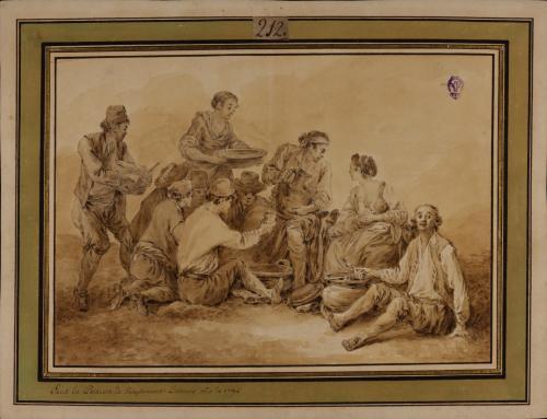 Escena de comida de campesinos