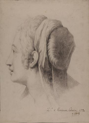 Estudio de cabeza femenina de perfil con manto