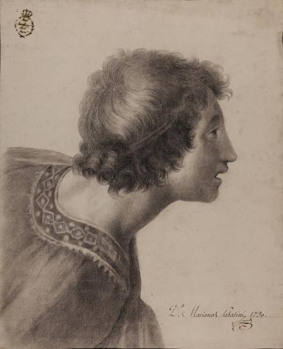 Estudio de cabeza masculina de la Disputa del sacramento de Rafael