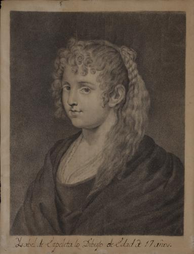 Estudio de una mujer con pelo rubio trenzado de Rubens