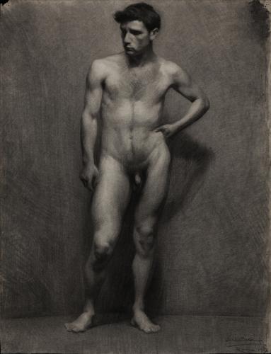 Estudio de modelo masculino desnudo de frente
