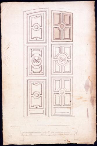 Planta y alzado de la puerta principal de la iglesia de los santos Justo y Pastor