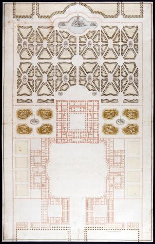 Plano general del palacio, edificios anexos y jardines de Riofrío (Segovia)